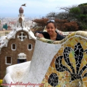 Checking out Gaudi's work in Parc Guell, Barcelona 2004