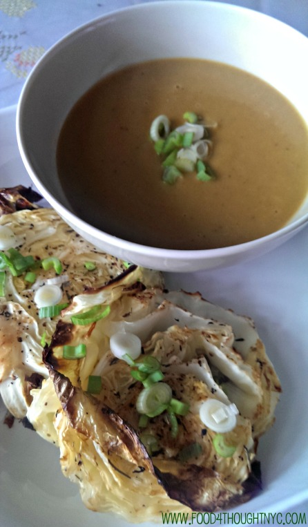 Light & Creamy Potato Leek Soup with Roasted Cabbage